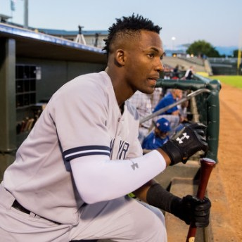 Nov 5, 2016; Surprise, AZ, USA; East infielder Miguel Andujar of the New York Yankees during the Arizona Fall League Fall Stars game at Surprise Stadium. Mandatory Credit: Mark J. Rebilas-USA TODAY Sports