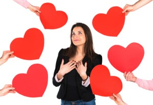 Woman receiving red hearts
