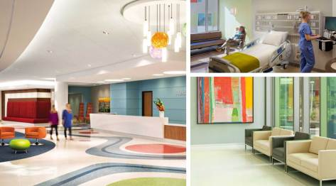 Trending healthcare colors feature natural-looking colors like blues and pops of citrus tones