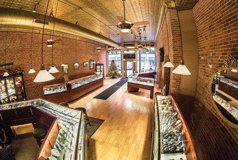 Newly renovated interior of the Designing Jewelers store in the Frederick Rehfuss Building in La Crosse, Wis.
