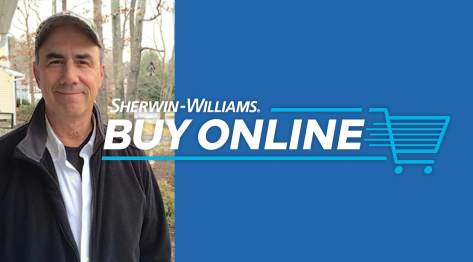 Roy Parker, founder of Paint It Right, with the Sherwin-Williams Buy Online logo