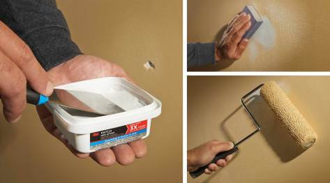 3 images show how to patch, sand and touch-up paint a damaged wall