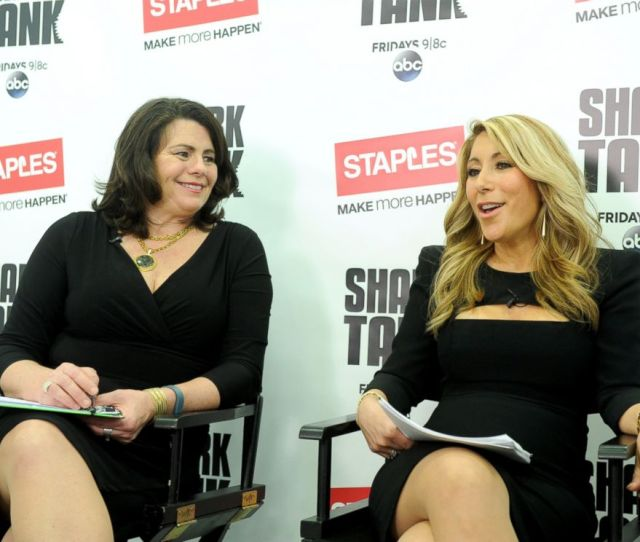 Photo Shark Tanks Lori Greiner Right And Staples Alison Corcoran Discuss Innovation And