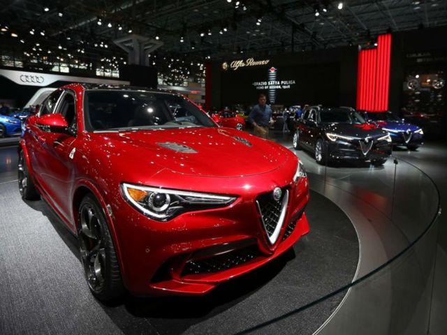 PHOTO: Alfa-Romeo Stelvio Quadrifoglio SUV is displayed at the New York International Auto Show, at the Jacob K. Javits Convention Center in New York City, April 12, 2017.