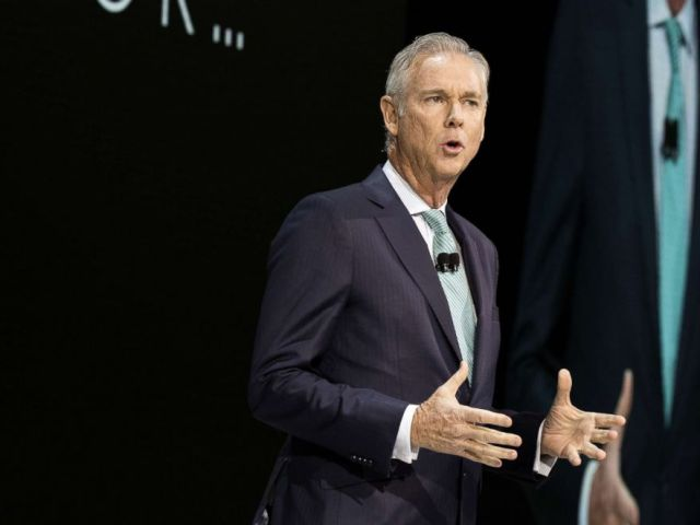 PHOTO: Jeff Bracken, group vice president and general manager of Toyota Motor Corp.s Lexus division, speaks during AutoMobility LA ahead of the Los Angeles Auto Show in Los Angeles, Calif., Nov. 29, 2017.