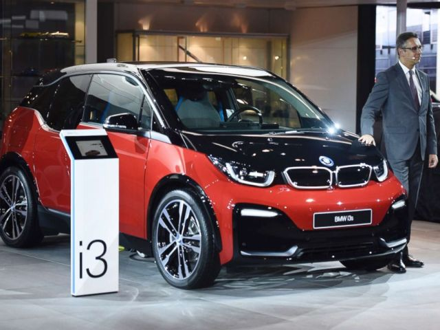 PHOTO: BMW i3 is pictured on display during its unveiling at Auto Expo 2018 motor show at India Expomart on Feb. 7, 2018, in Greater Noida, India.