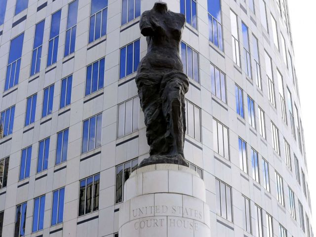 PHOTO: A view of the statue standing in front of the U.S. District Courthouse in Cleveland, Ohio, Oct. 18, 2019.