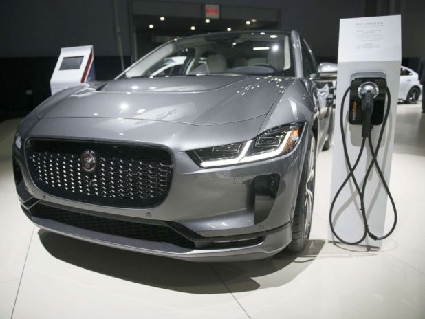 PHOTO: The Jaguar Land Rover Automotive Plc I-Pace electric vehicle is displayed during the 2018 New York International Auto Show in New York, March 29, 2018.