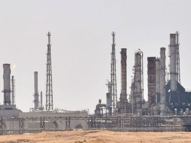 PHOTO: A picture taken on September 15, 2019, shows an Aramco oil facility near al-Khurj area, just south of the Saudi capital Riyadh.