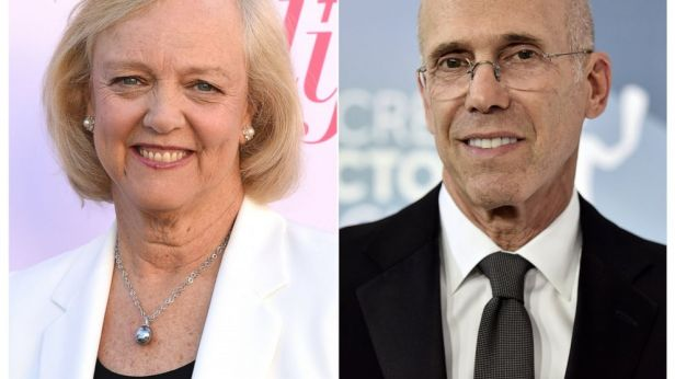 This combination photo shows Meg Whitman at The Hollywood Reporter's Women in Entertainment Breakfast Gala in Los Angeles on Dec. 11, 2019, left, and Jeffrey Katzenberg at the 26th annual Screen Actors Guild Awards in Los Angeles on Jan. 19, 2020. Ka