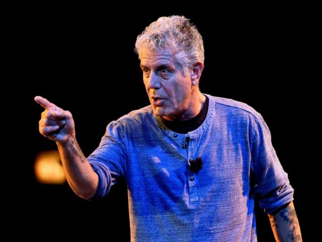 PHOTO: Anthony Bourdain speaks on stage during the Close to the Bone Tour at Auditorium Theatre in this July 30, 2015 file photo in Chicago.