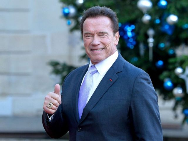 PHOTO: Arnold Schwarzenegger arrives for a meeting with French President Emmanuel Macron at the Elysee Palace, Dec. 12, 2017, in Paris.