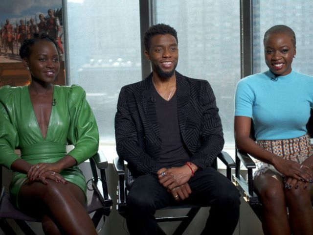 PHOTO: Stars Lupita Nyongo, Chadwick Boseman and Danai Gurira discuss the making of the film.