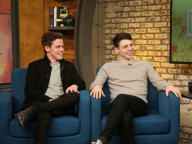 PHOTO: Sam Clemmett and Anthony Boyle from Broadways Harry Potter and the Cursed Child part one and two is interviewed for Popcorn with Peter Travers, May 11, 2018 in New York.