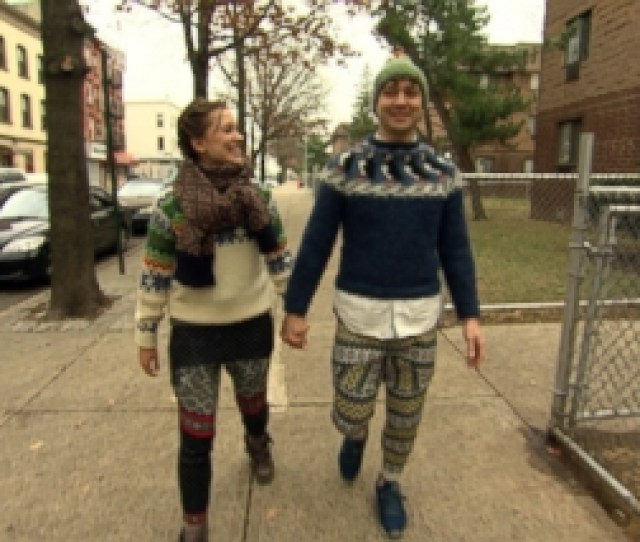 Now Playing Designers Transform Ugly Holiday Sweaters Into Trendy Pants