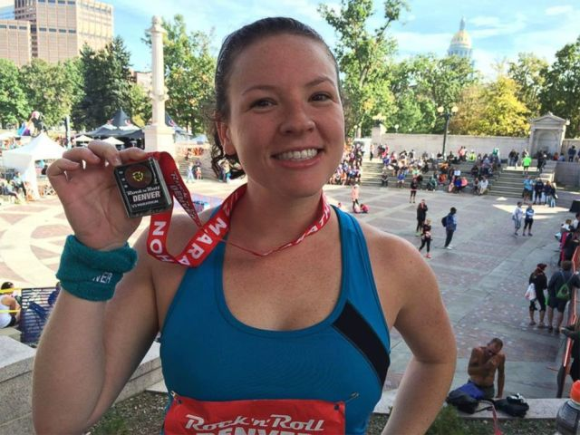 PHOTO: Blair Shiff poses with her medal after she completed the 2015 Rock N Roll Half Marathon in Denver.