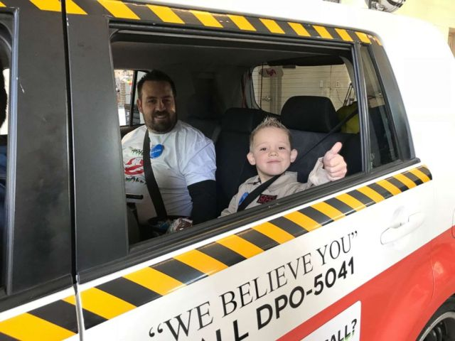 PHOTO: London, 5, gives a thumbs up on his day as his Ghostbusters wish comes true.