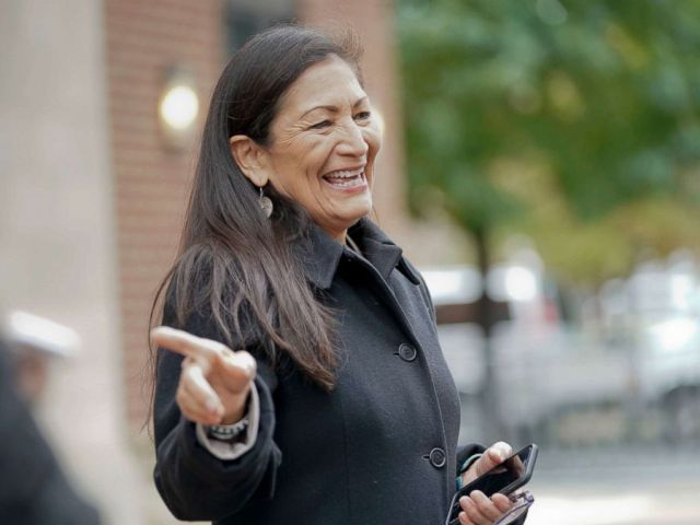 PHOTO: Rep.-elect Debra Haaland D-NM., points after checking-in for orientation for new members of Congress, Nov. 13, 2018, in Washington D.C.