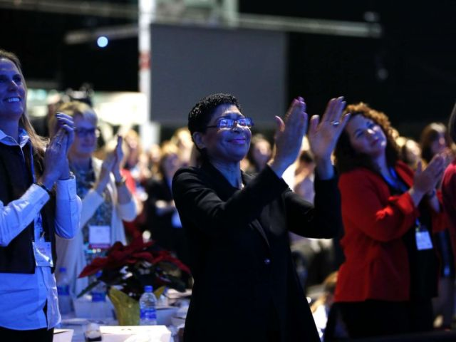 PHOTO: Audience reacts during 2018 Massachusetts Conference for Women at Boston Convention Center, Dec. 6, 2018.
