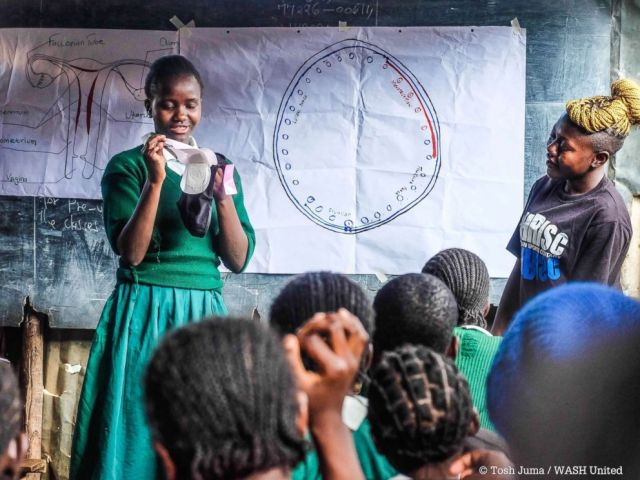PHOTO: Girls in Kenya learn about menstruation.