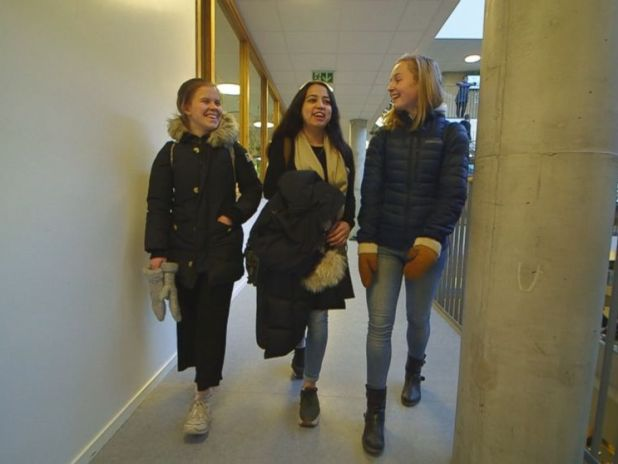 PHOTO: Taibah Abbasi with her high school friends at Thora Storm High School, Jan. 17, 2018, in Trondheim, Norway.