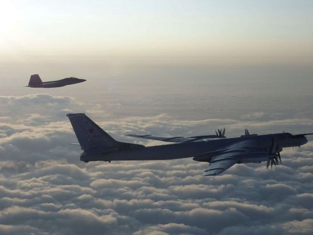 PHOTO: U.S. and Canadian military aircraft intercepted two Russian Tu-95 Bear bombers that entered the Alaskan and Canadian Air Defense Identification Zones on August 8, 2019, according to North American Aerospace Defense Command