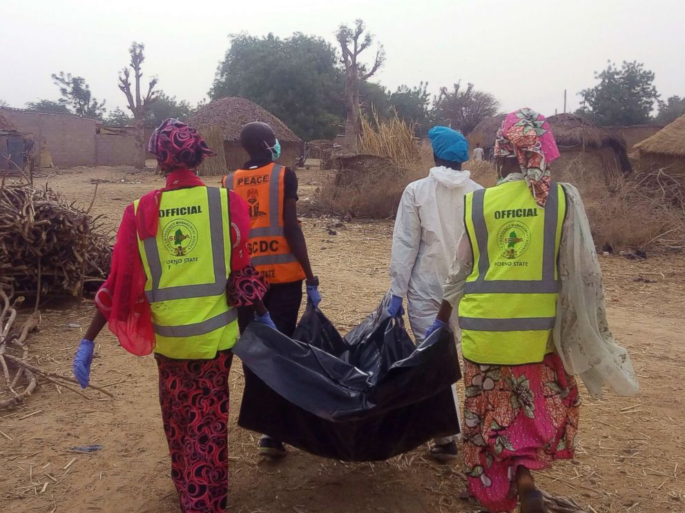 PHOTO: Rescue workers carry a body of a victim following a suicide attack by Boko Haram Islamic extremists in Maiduguri, Nigeria, April 2, 2018.