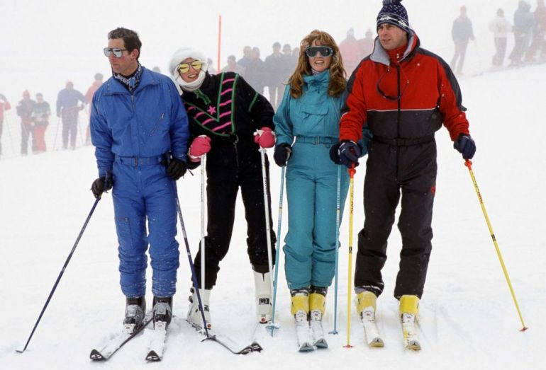 PHOTO: The Prince And Princess Of Wales With The Duke And Duchess Of York during a skiing holiday in Klosters, Switzerland, Feb. 17, 1987.