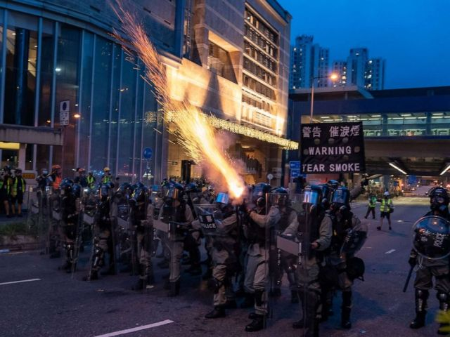 PHOTO: Riot police fire tear gas during a clearing at a demonstration in Tai Wan on Saturday, Aug. 10, 2019 in Hong Kong.