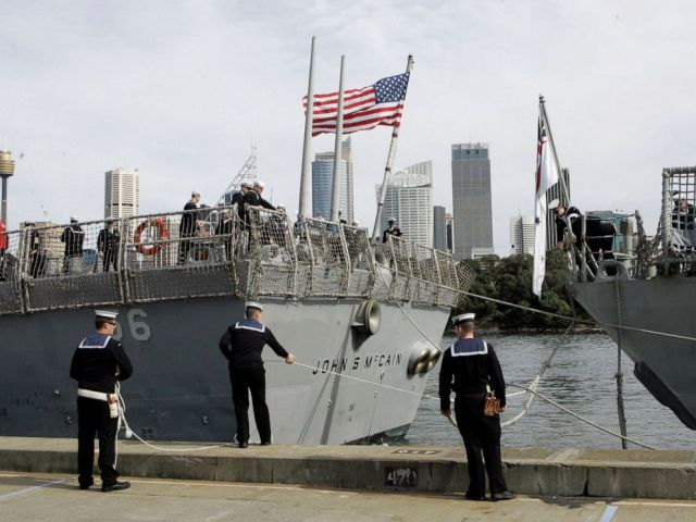 PHOTO: In this Aug. 20, 2008, file photo, Australian sailors tie up the USS John S McCain (DDG-56) as she arrives in Sydney, Australia for the 100th Anniversary of the Great White Fleet.
