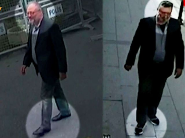 Images from police CCTV, available through Turkish Newspaper Sabah, allegedly show Jamal Khashoggi, left, arriving at the Saudi Arabian consulate in Istanbul on Oct. 2, and a man leaving the consulate, right, with a fake beard and wearing on Oct. 10.