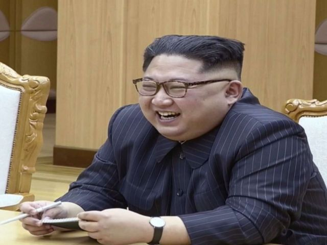 PHOTO: A scene shown on North Korean state TV of North Korean President Kim Jong Un laughing during a meeting with U.S. Secretary of State Mike Pompeo, May 9, 2018.