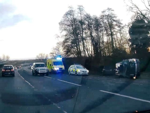 PHOTO: A view of the scene of car crash involving Prince Philip on A149 in Sandringham, Norfolk, Britain, Jan. 17, 2019, in this image obtained from a social media video.
