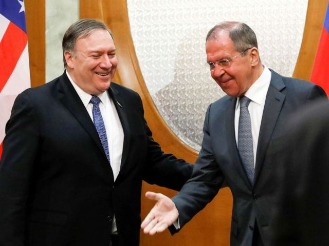 PHOTO: Russian Foreign Minister Sergey Lavrov welcomes U.S. Secretary of State Mike Pompeo for the talks in the Black Sea resort city of Sochi, Russia, May 14, 2019.