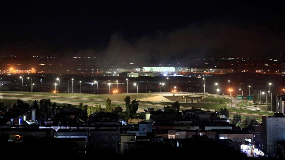 PHOTO: Smoke rises from the northern Iraqi city of Erbil following a rocket attack on Feb. 15, 2021.