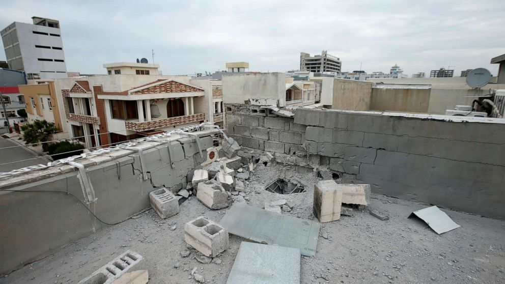 PHOTO: A roof is seen damaged in the city of Erbil after a barrage of rockets hit areas in and around Erbil International Airport in Iraq's semi-autonomous Kurdish region on Feb. 16, 2021.