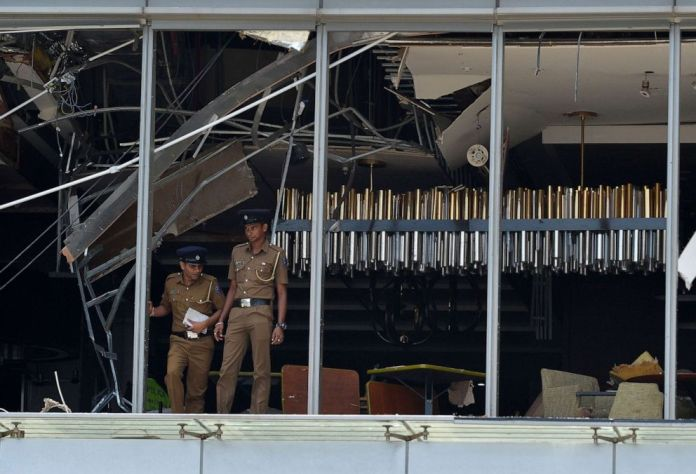The Sri Lankan police are at the site of a blast in a restaurant area of Luxushangri-La Hotel in Colombo, Sri Lanka, on April 21, 2019.