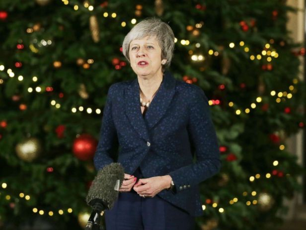 PHOTO: British Prime Minister Theresa May walks from 10 Downing Street to make a statement, in London, Wednesday Dec. 12, 2018.