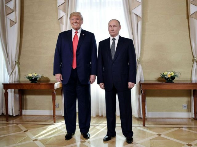 PHOTO: President Donald Trump and Russian President Vladimir Putin at the Presidential Palace in Helsinki, Finland, July 16, 2018 prior to Trumps and Putins one-on-one meeting in the Finnish capital.