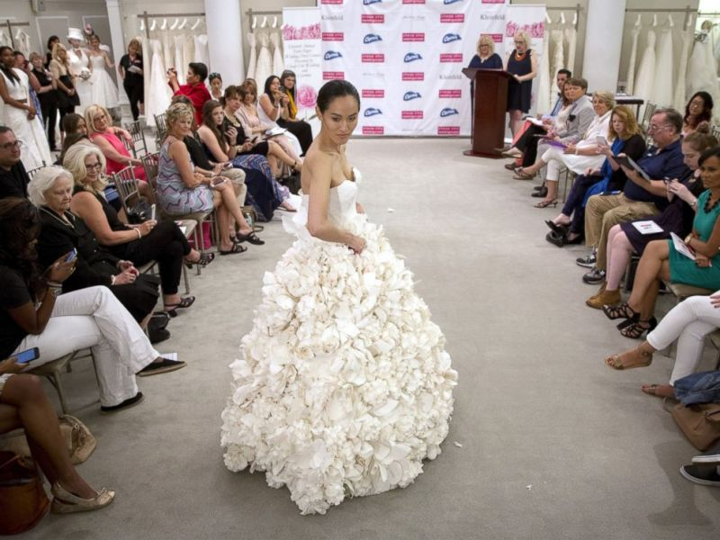 Toilet Paper Wedding Dresses So Stunning You d Be Proud to Wear Them     PHOTO  A model walks the runway wearing Garden Party a design by Carol  Touchstone during