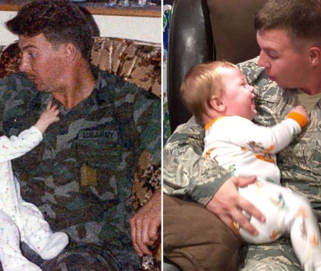 Air Force Staff Sergeant Dallas English Recreated This Photo With His 10 Month Old