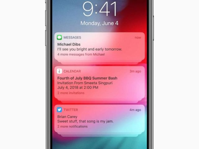 PHOTO: iOS 12 introduces Grouped Notifications, making it easier to view and manage multiple notifications at once.