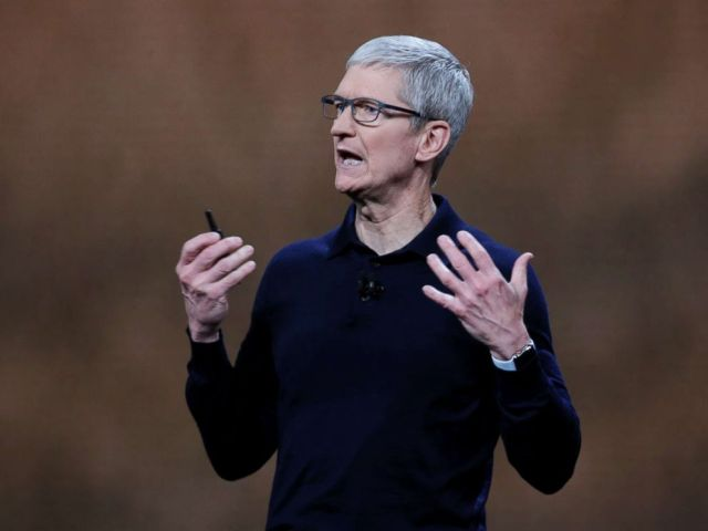 PHOTO: Apple Chief Executive Officer Tim Cook speaks at the Apple Worldwide Developer conference in San Jose, Calif., on June 4, 2018.