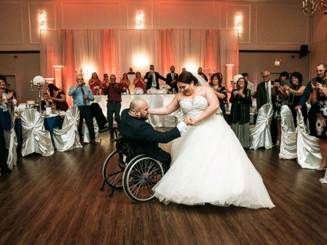 PHOTO: Newlyweds Justin Boisvert Sabrina Raposo dance on their wedding day, April 20, 2018.