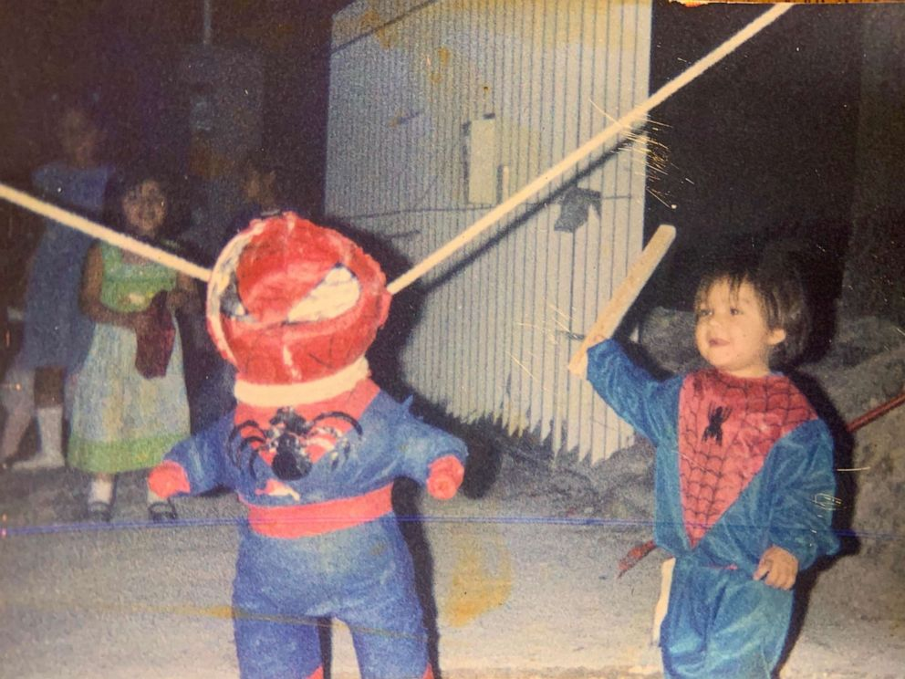 PHOTO: A young Brandon Salinas celebrates a birthday dressed as his favorite childhood superhero, Spiderman.