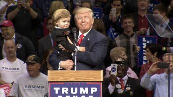 Child Dressed as Donald Trump Joins the Candidate on Stage Video ...