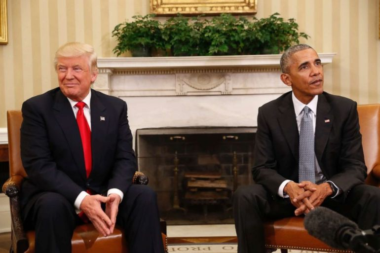 PHOTO: President Barack Obama meets with President-elect Donald Trump in the Oval Office of the White House in Washington, Nov. 10, 2016.
