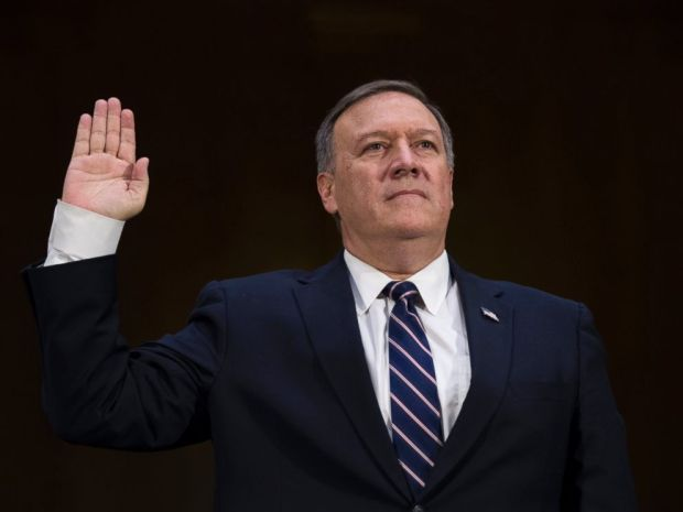 PHOTO: CIA Director nominee Congressman Michael Pompeo is sworn in prior to testifying during his confirmation hearing before Senate Intelligence Committee on Capitol Hill on Jan. 12, 2017.