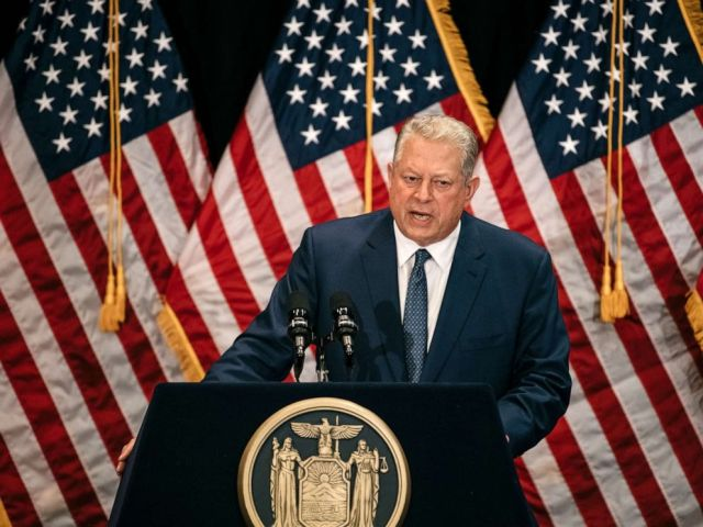 PHOTO: Former Vice President Al Gore delivers a speech on the importance of renewable energy, minutes before the Governer signed the Climate Leadership and Community Protection Act at Fordham Law School in Manhattan, July 18, 2019.