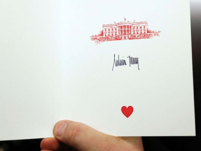 PHOTO: The signature of first lady Melania Trump is displayed on a card intended for children during her visit at Cincinnati Childrens Hospital Medical Center, Monday, Feb. 5, 2018, in Cincinnati.